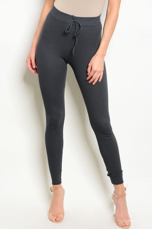 Charcoal Ribbed Leggings