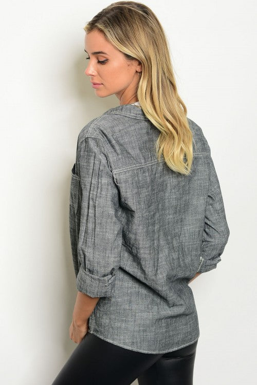 Charcoal Button Up Top