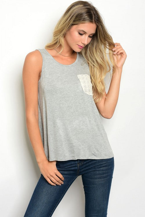 Grey Tank with Lace Pocket