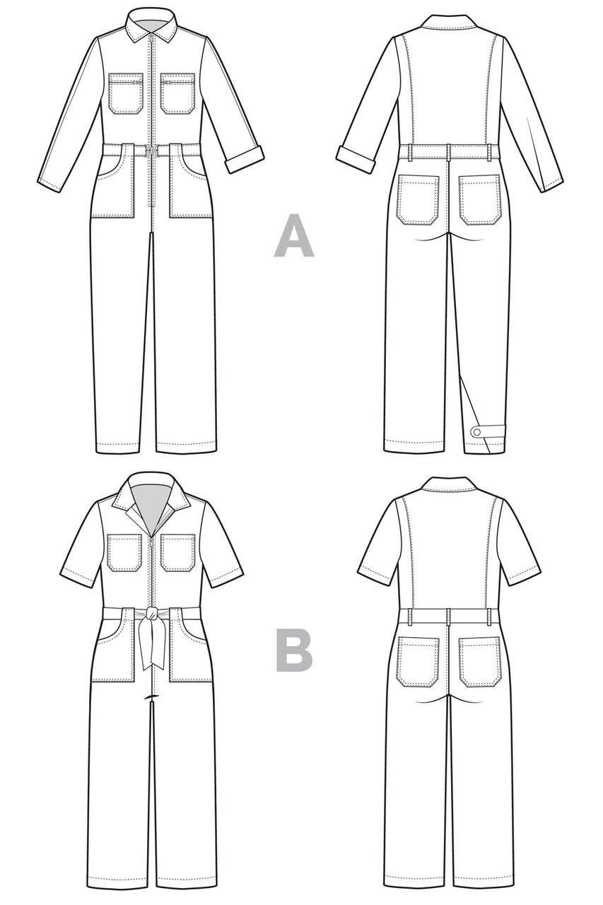 Blanca Flight Suit pattern / Boiler suit pattern from Closet Core Patterns - Technical drawings