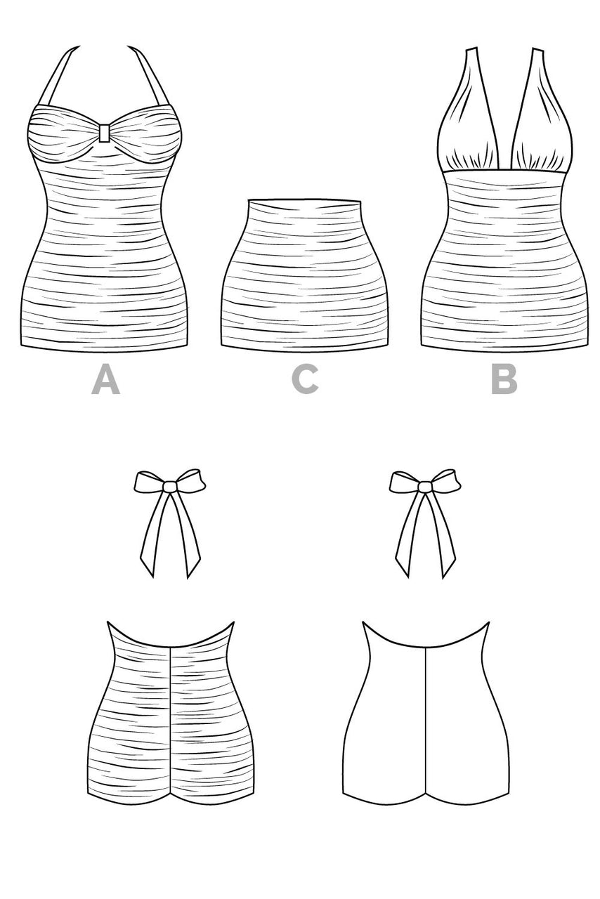 Bombshell swimsuit pattern // Technical flats // Closet Core Patterns