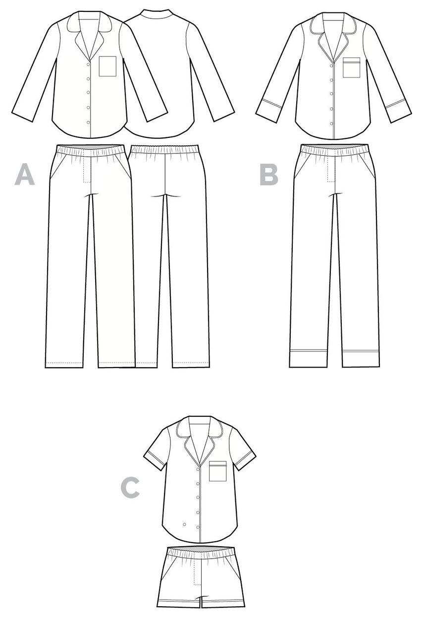 Carolyn Pajama pattern // Technical flats // Closet Core Patterns