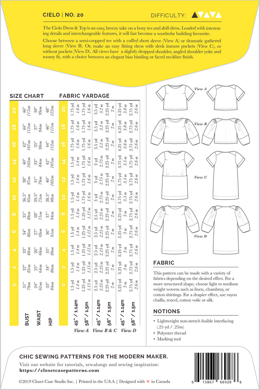 Cielo Top & Dress Sewing Pattern - Envelope back | Closet Case Patterns