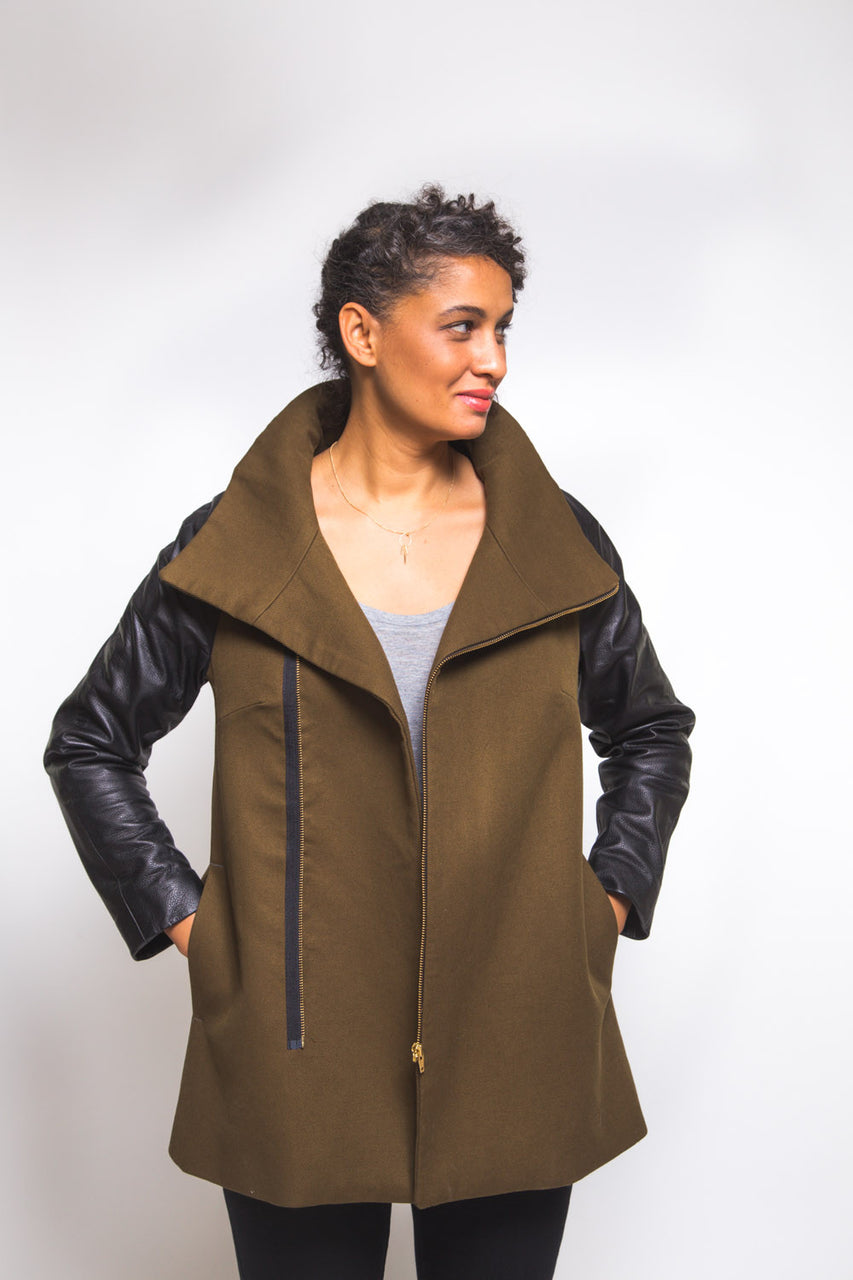 Clare Coat Pattern // View B with exposed zipper //  Closet Core Patterns