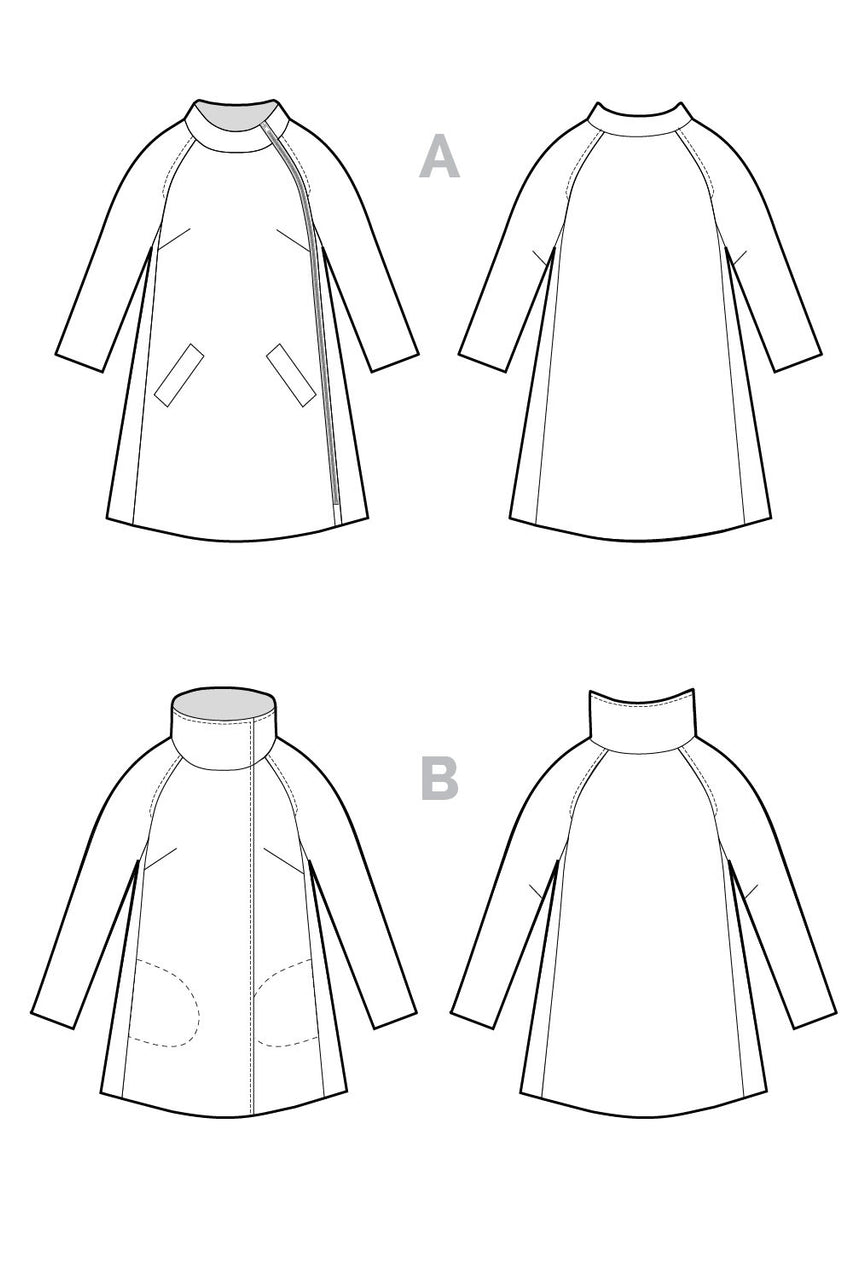 Clare Coat Pattern // Technical Flats // Closet Core Patterns