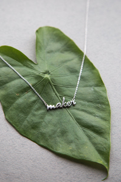 Silver Maker necklace // Custom nameplate necklace // available exclusively at Closet Case Patterns