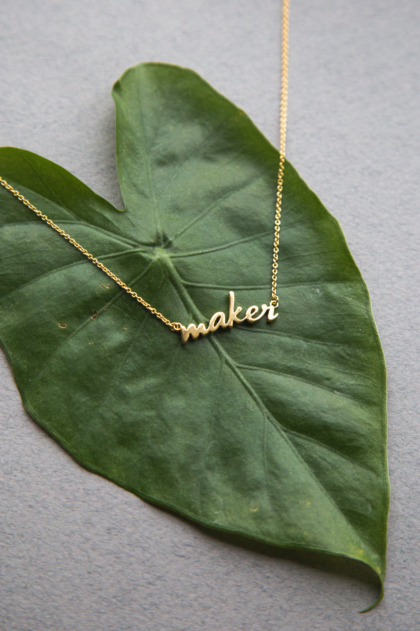 18K gold Maker necklace // Custom nameplate necklace // available exclusively at Closet Case Patterns