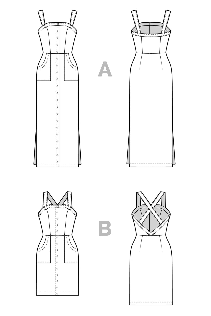 Fiona Sundress Pattern Technical flats //  Summer dress pattern with two bodice and three skirt options // Closet Core Patterns