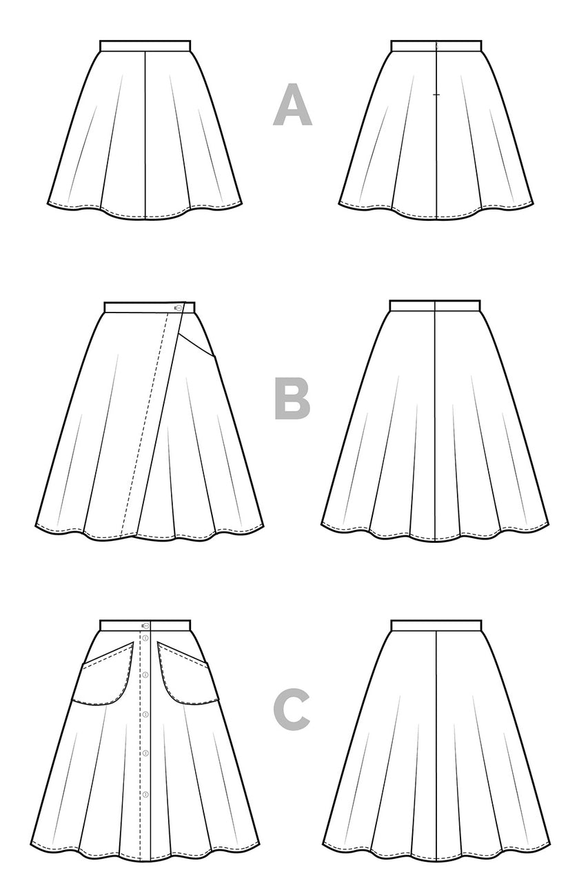 Fiore Skirt Sewing Pattern - Flared A-line skirt pattern - Technical Flats | Closet Core Patterns