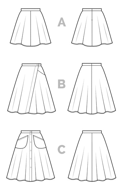 Fiore Skirt Sewing Pattern - Flared A-line skirt pattern - Technical Flats | Closet Case Patterns