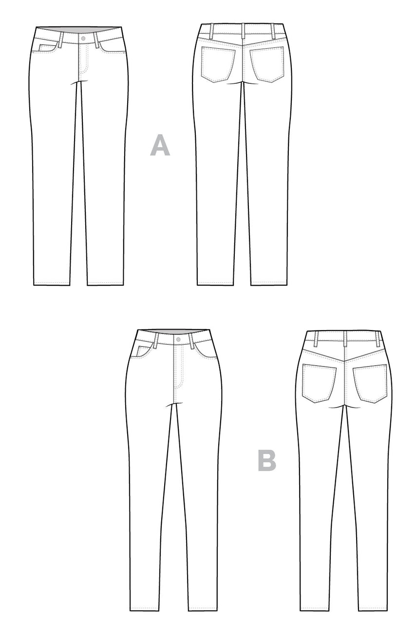 Ginger Skinny Jeans pattern // Technical flats // Closet Core Patterns