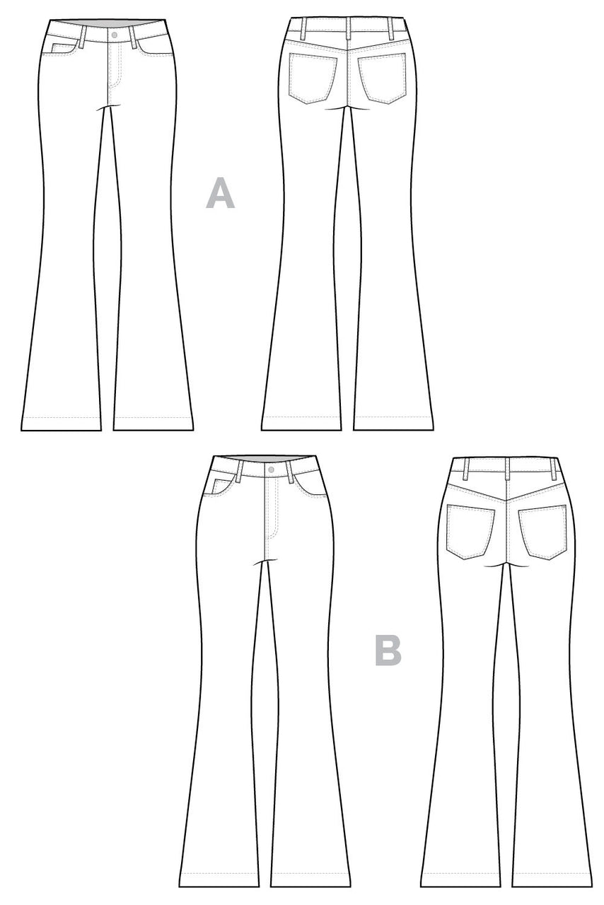 Ginger Flared Jeans pattern // Jeans technical drawing // Closet Core Patterns