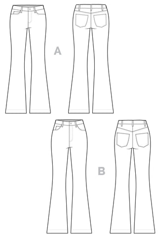 Ginger Flared Jeans pattern // Jeans technical drawing // Closet Case Files