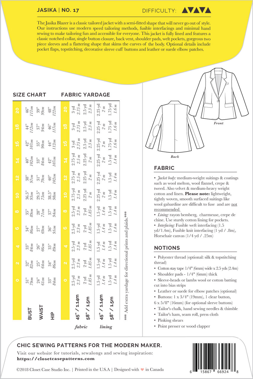 Jasika Blazer Pattern // Pattern Envelope - back // Closet Case Patterns