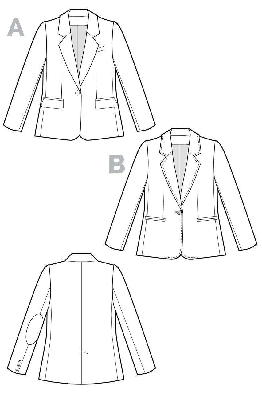 Jasika Blazer Pattern // Technical Flats // Closet Case Patterns