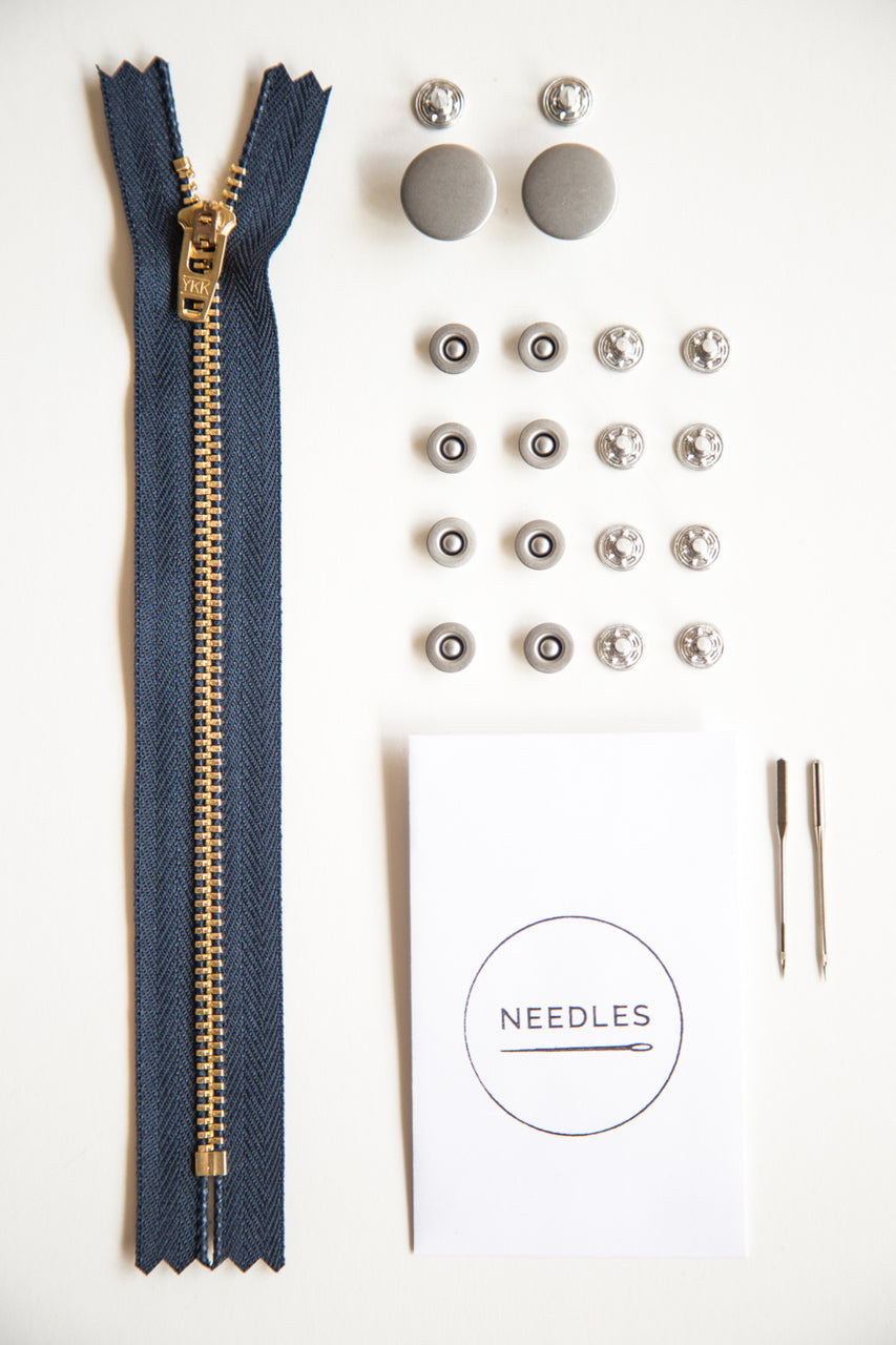 Fly front jeans-making kit in silver // Jeans buttons + jeans rivets + denim needles + YKK zipper // Closet Case Patterns