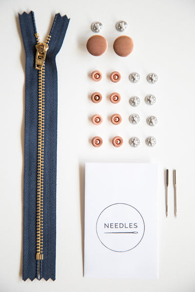 Fly front jeans-making kit in copper // Jeans buttons + jeans rivets + denim needles + YKK zipper // Closet Core Patterns
