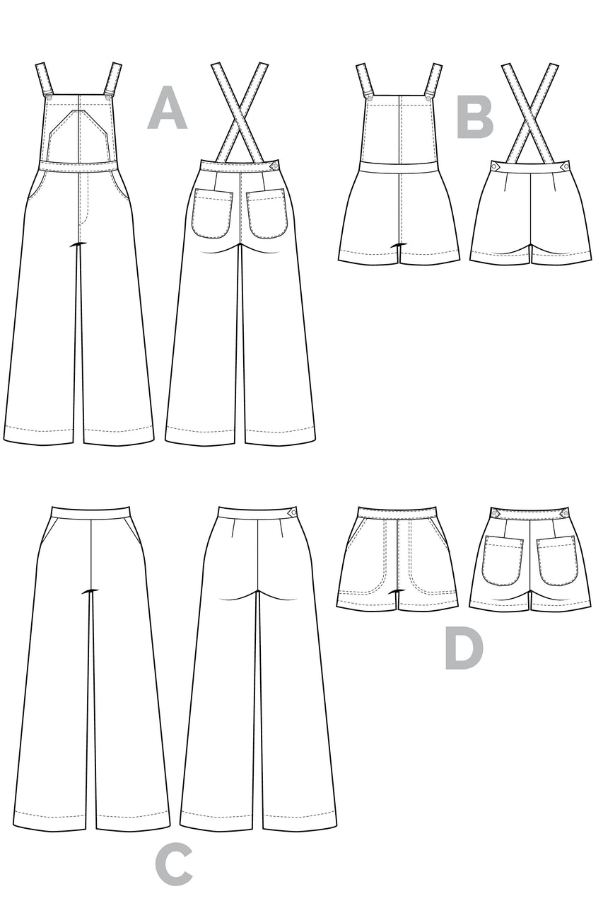 Jenny Overalls, trousers & Shorts Pattern | Technical Flats // from Closet Core Patterns