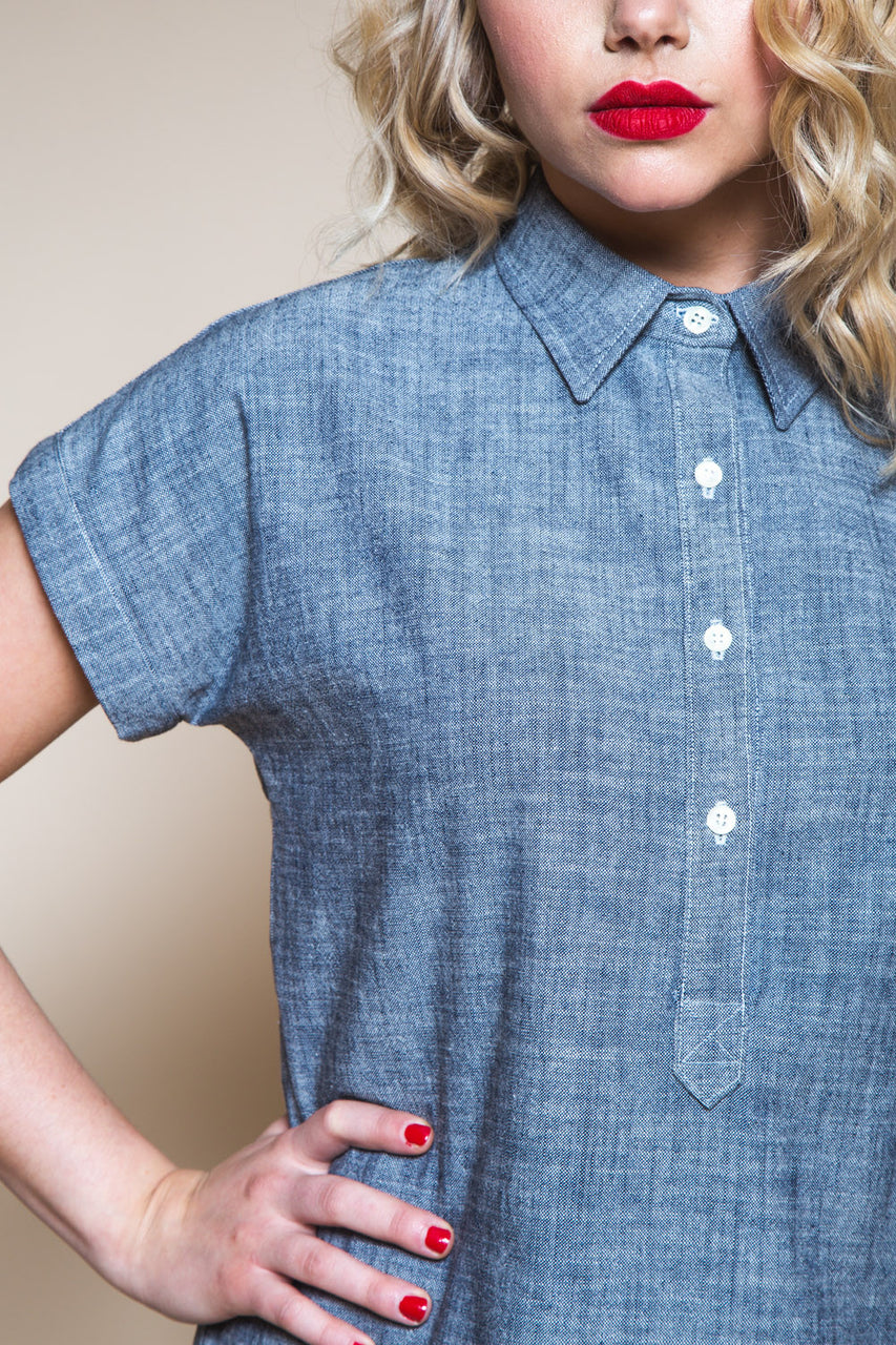 Kalle Button-down Shirt Pattern // Tunic with popover placket // Closet Core Patterns