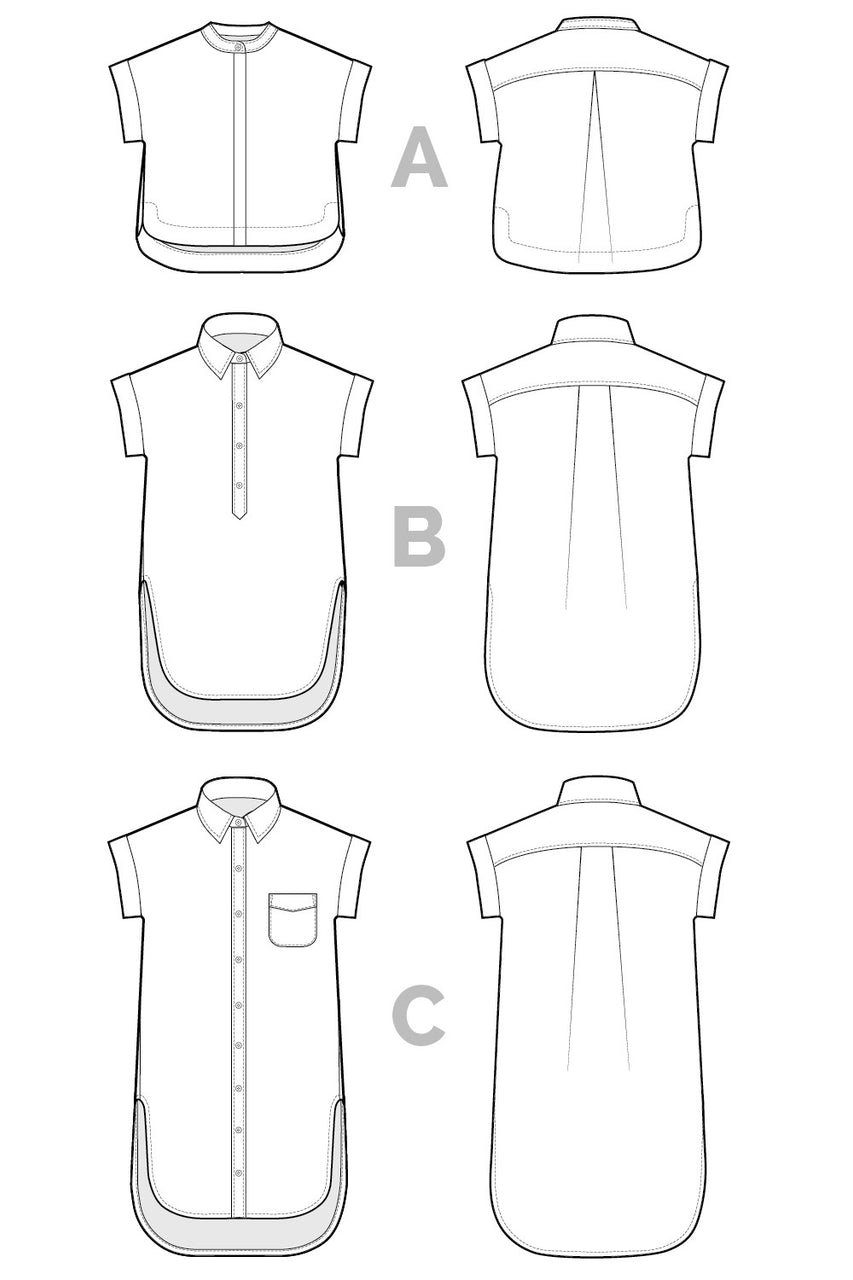 Kalle Shirt + Shirt-Dress Pattern // Technical Flats // Closet Core Patterns