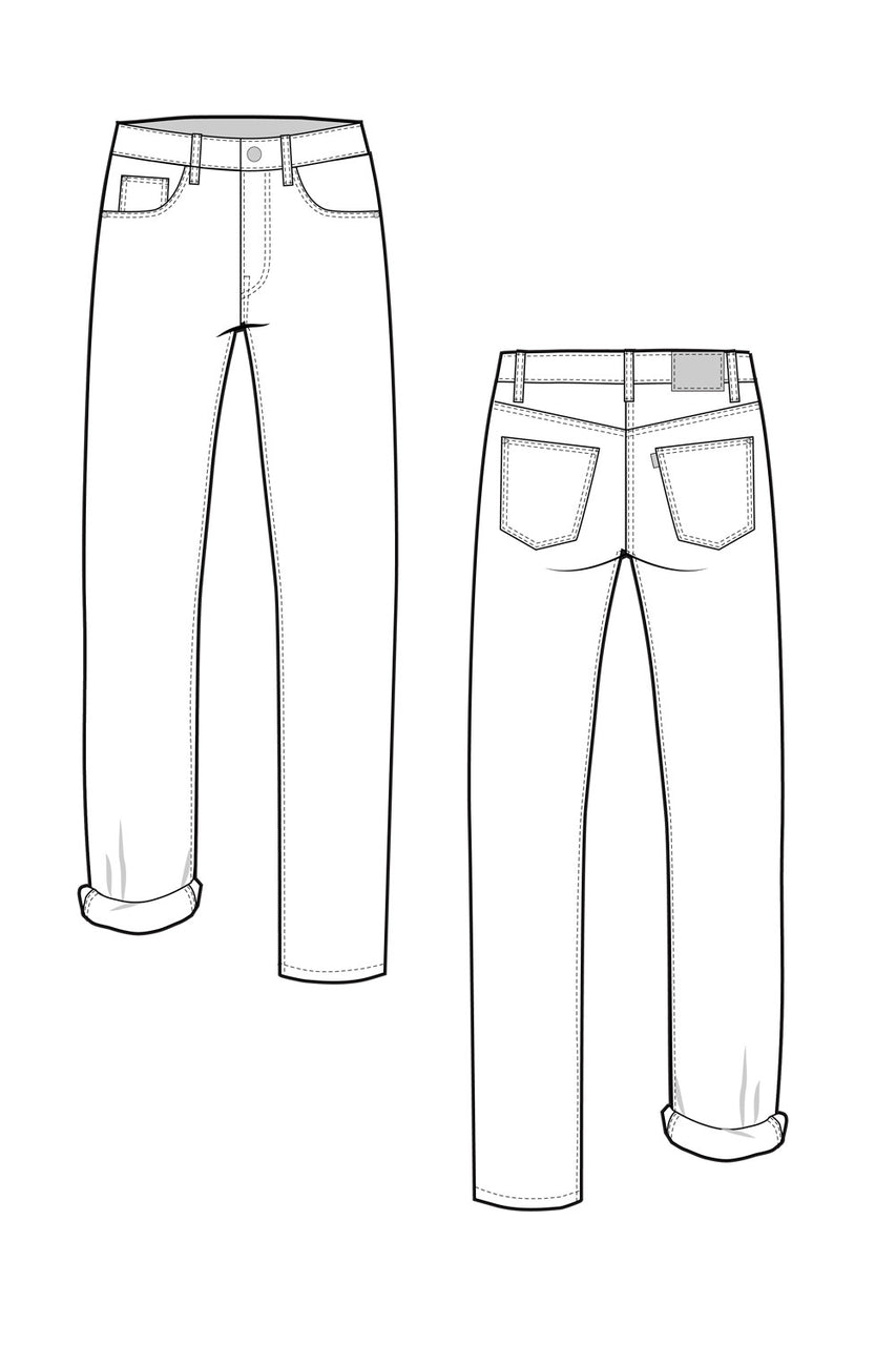 Morgan Boyfriend Jeans pattern // Technical flats // by Closet Core Patterns
