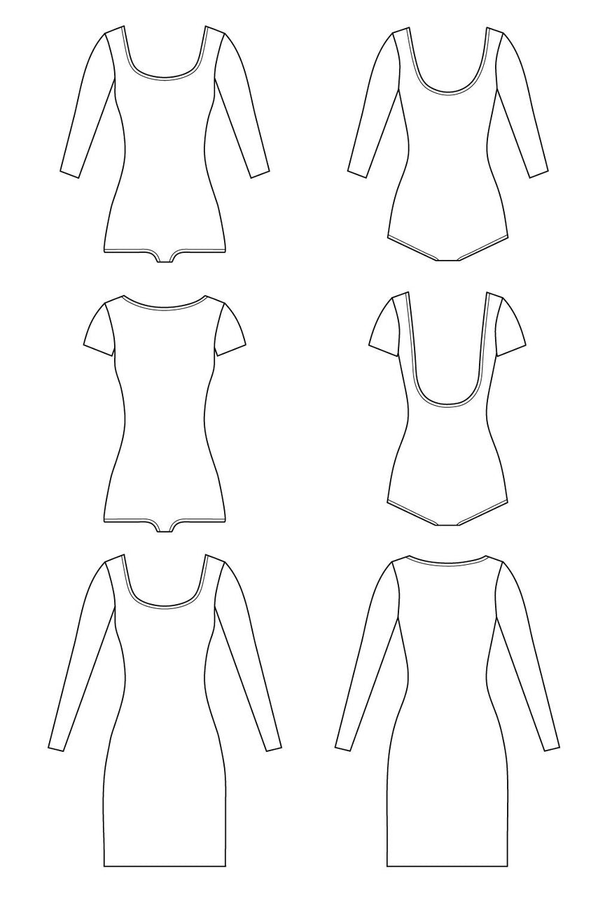 Nettie bodysuit & dress pattern // Technical flats // Closet Core Patterns