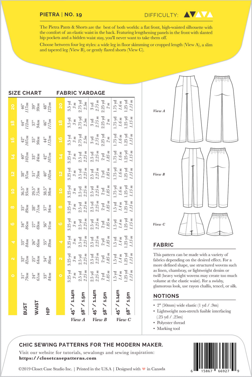 Pietra Pants & Shorts Sewing Pattern - Envelope Back | Closet Core Patterns
