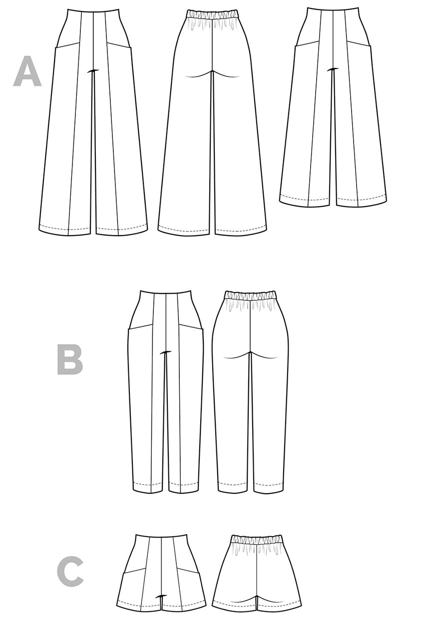Pietra Pants & Shorts Sewing Pattern - Technical Flats | Closet Core Patterns