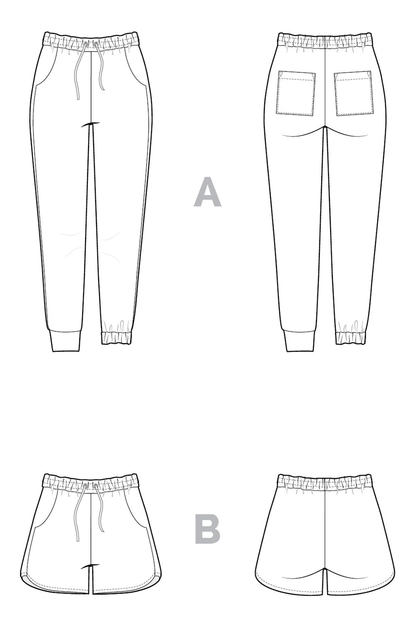 Plateau Joggers Pattern | Technical Flats | by Closet Core Patterns