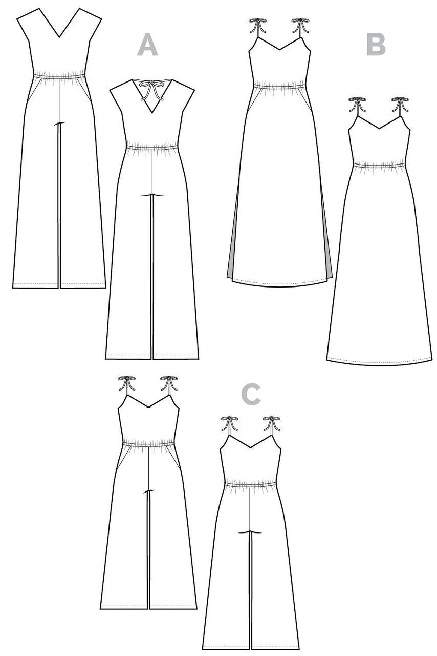 Sallie Jumpsuit & Dress Pattern // Technical flats // Closet Core Patterns
