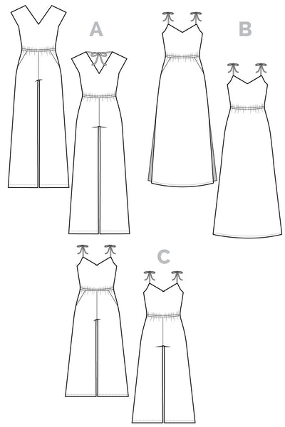 Sallie Maxi dress pattern // Technical flats // Closet Case Files