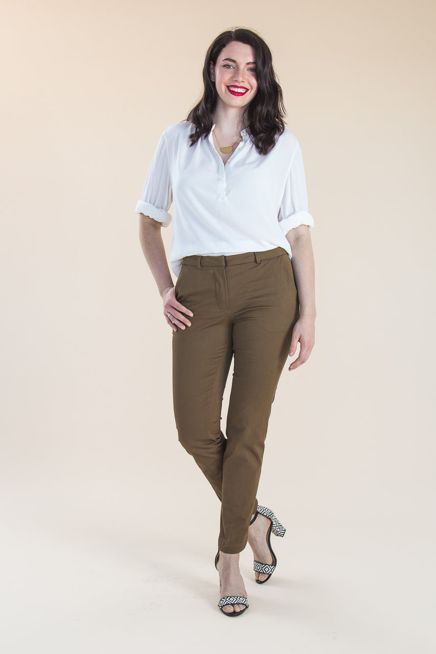 Sasha Trousers Pattern | Slim front stretch trouser pattern // by Closet Core Patterns