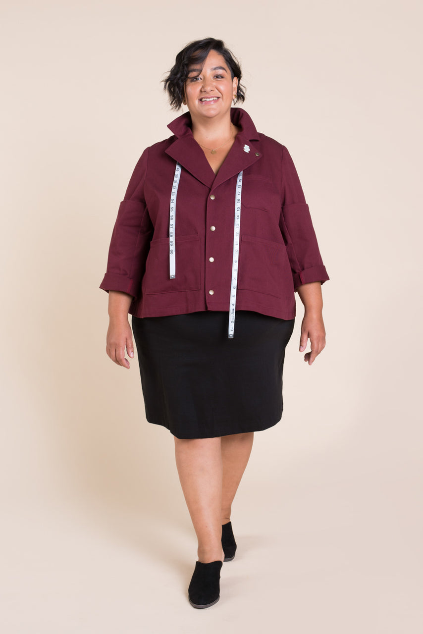 Sienna Maker Jacket Pattern - Cropped // Plus Size Utility and Chore Jacket Pattern // Closet Case Patterns