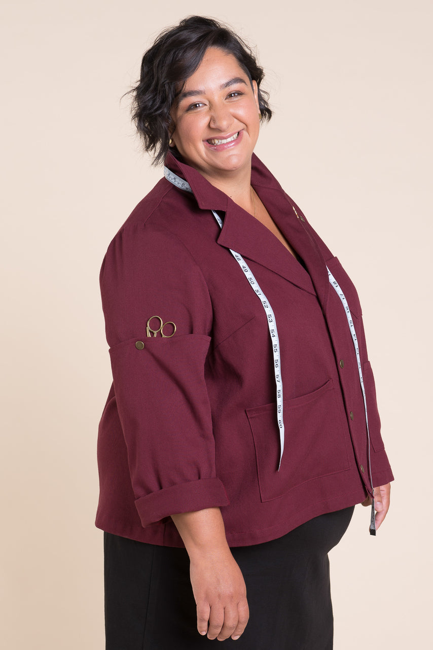Sienna Maker Jacket Pattern - Cropped // Plus Size Utility and Chore Jacket Pattern // Closet Core Patterns