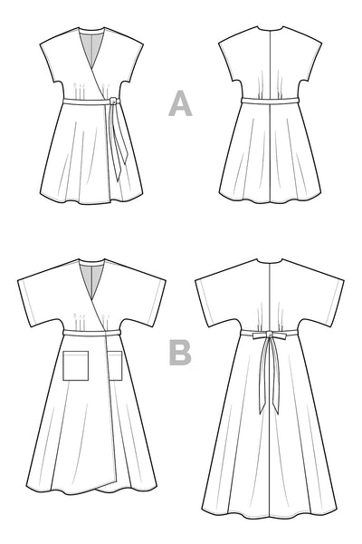 Elodie Wrap Dress pattern / Technical drawings | Closet Core Patterns