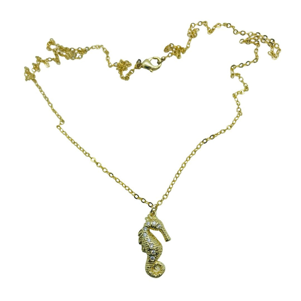 Gold Plated Seahorse Necklace.