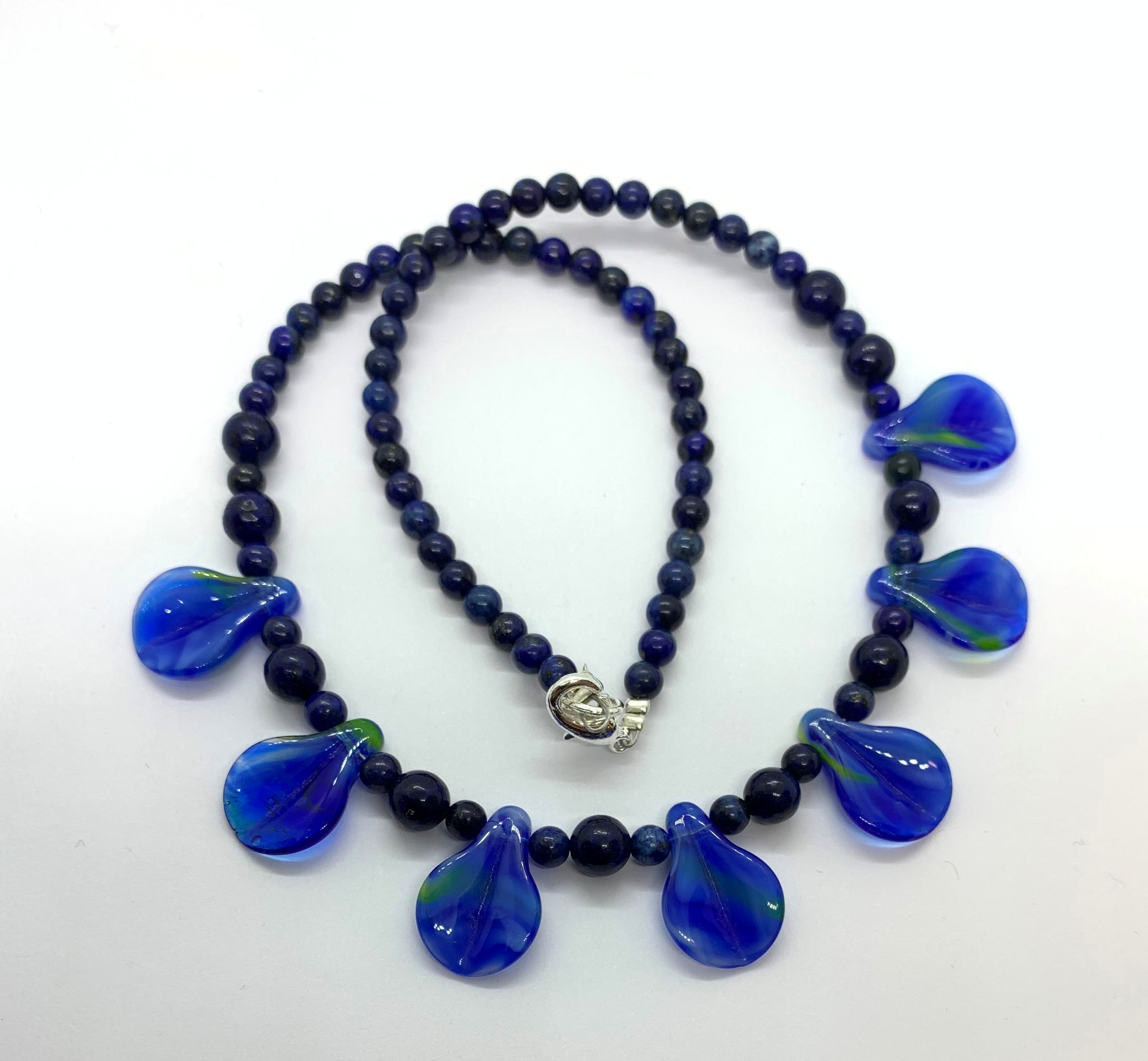 Lapis with Hand made glass leaf Necklace