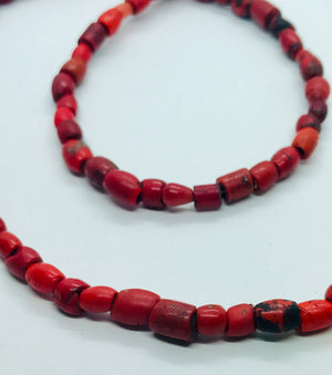 Antique Mountain Coral beads long