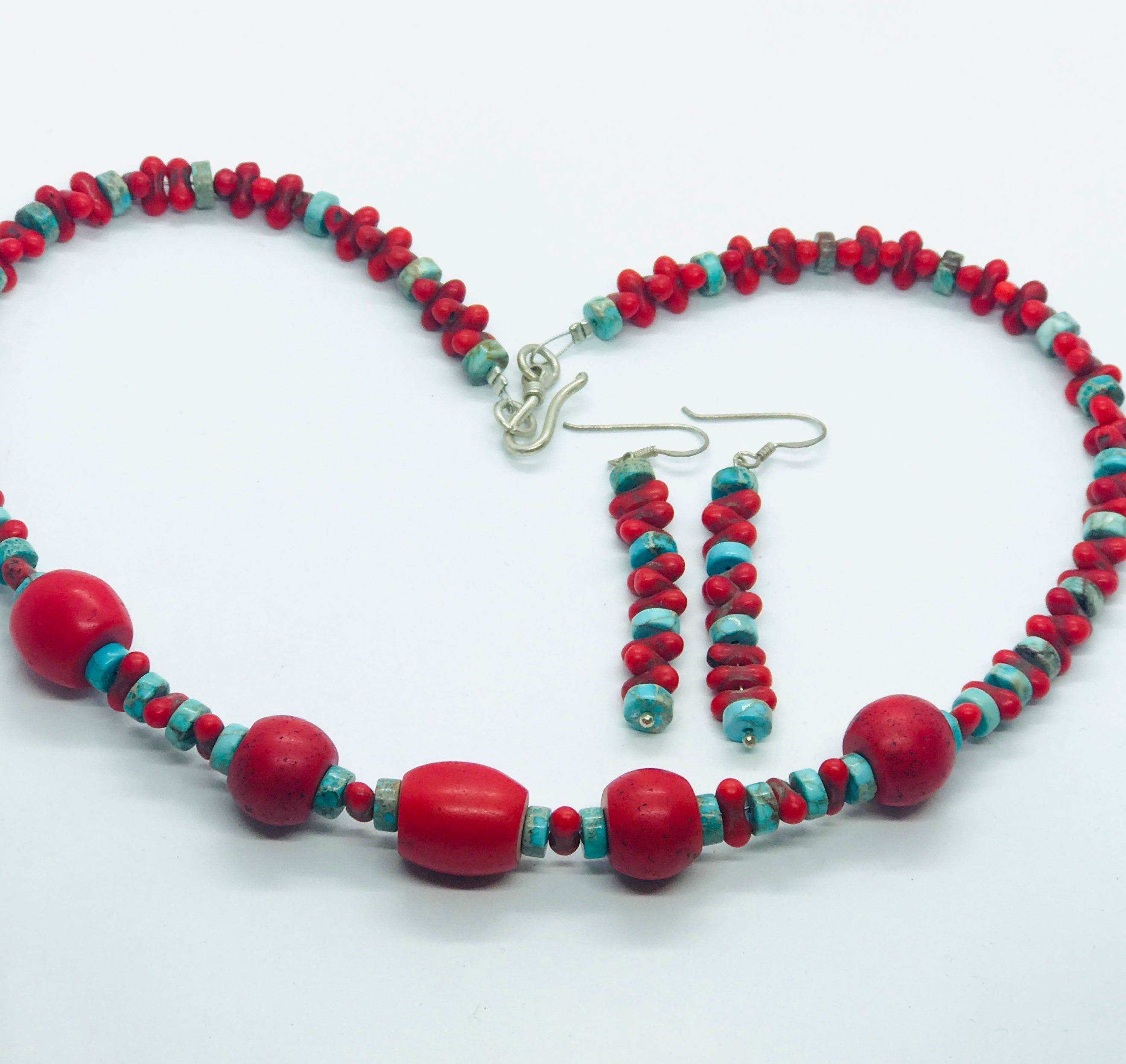 Antique Mountain Coral and Turquoise Beads
