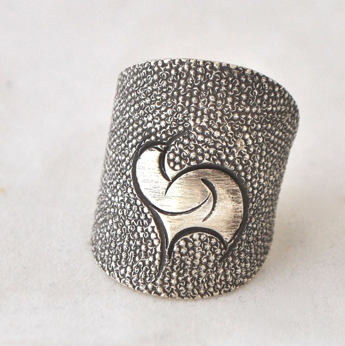 Hand Etched Silver Ring