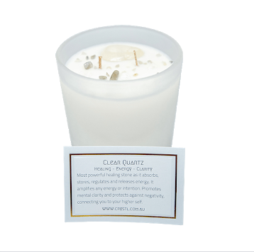 Crystl Candle Energise - Lemongrass, Coconut, Clear Quartz