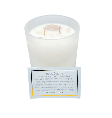 'Love & Positivity' Candle -Vanilla Sandalwood Rose Quartz
