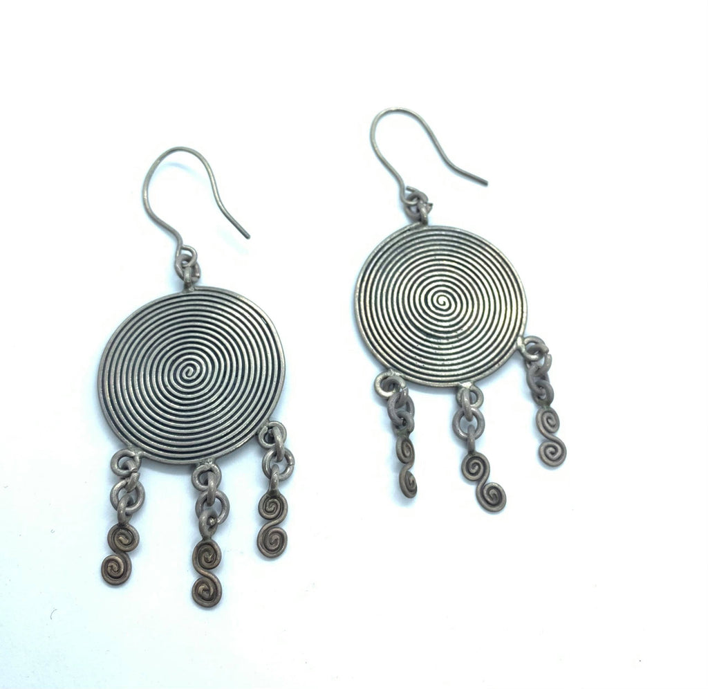 Pure Silver Disc Tribal Earrings