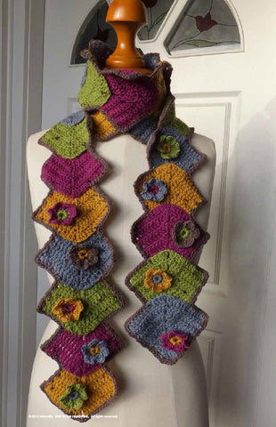 NATURALLY LEAFLET MITRED LEAVES CROCHET SCARF DIGITAL DOWNLOAD
