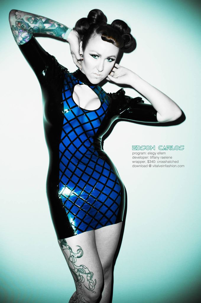Crosshatch Latex Dress with Small Keyhole Opening