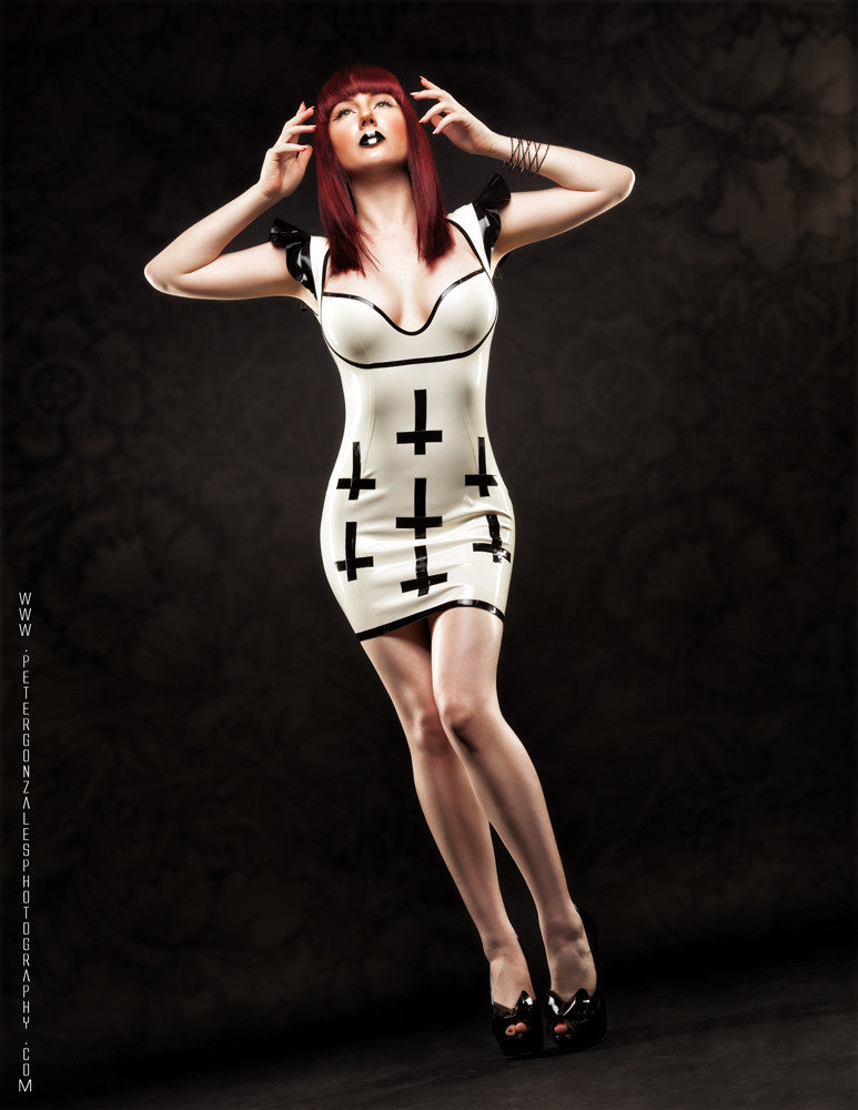 Inverted Cross Latex Dress