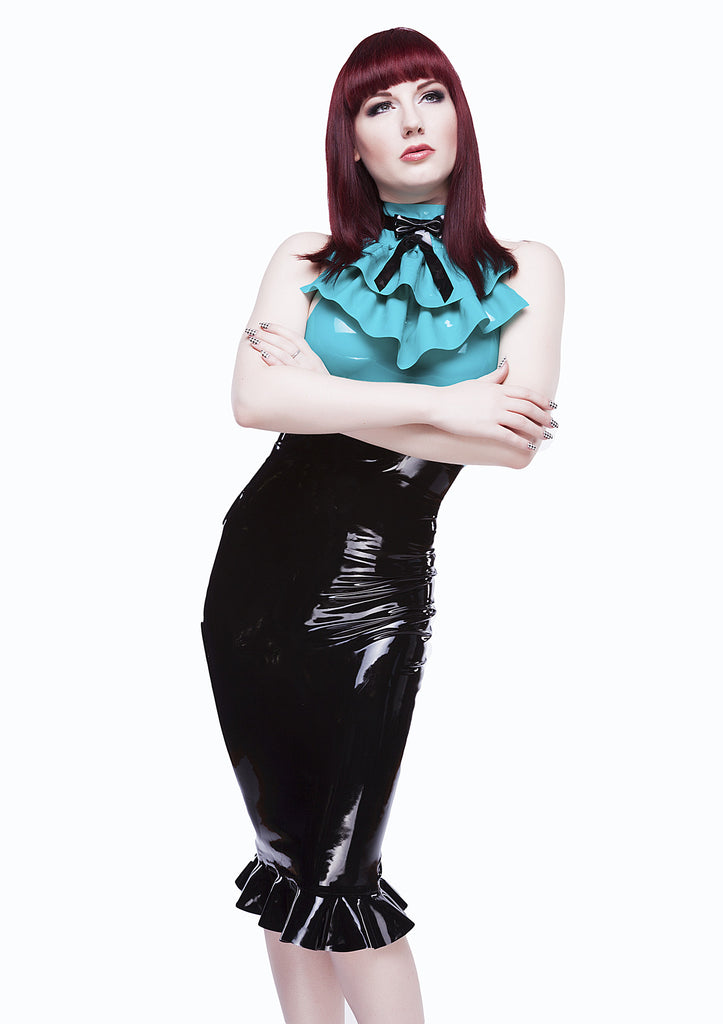 High Waisted Latex Pencil Skirt with Ruffle