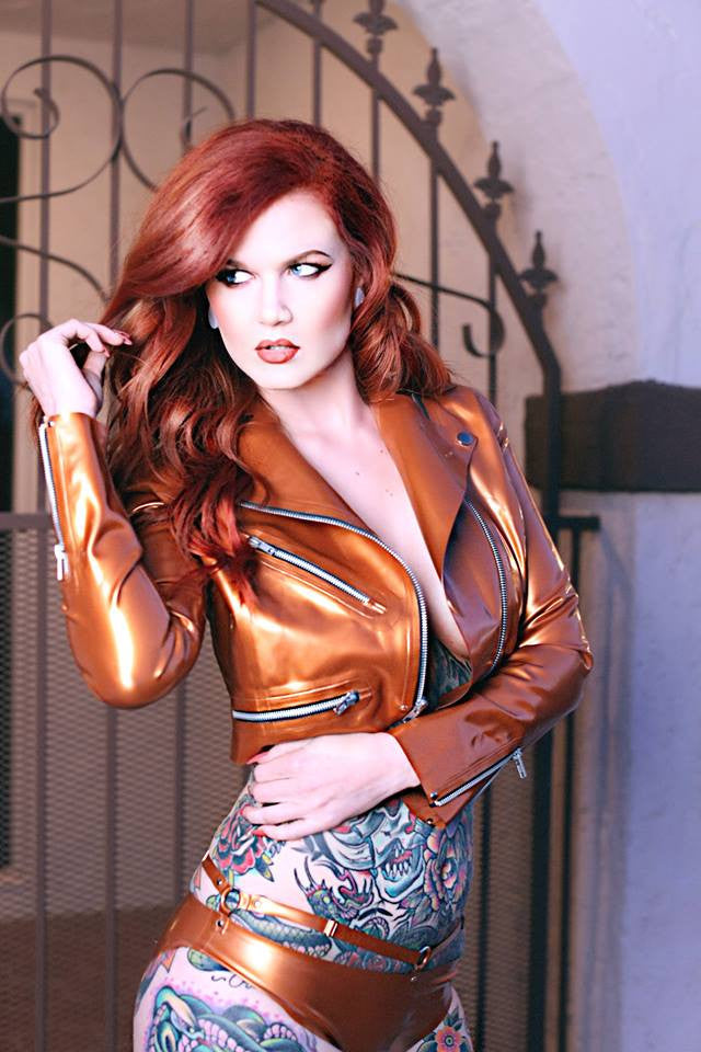 Cropped Latex Moto Jacket