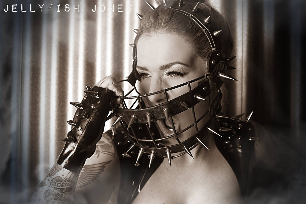 Spiked Latex Fingerless Gloves