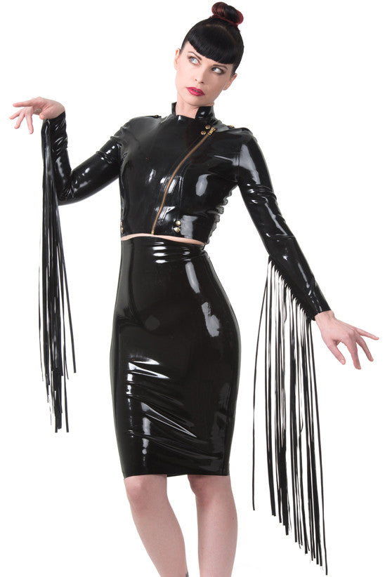 High Waisted Latex Spanking Skirt